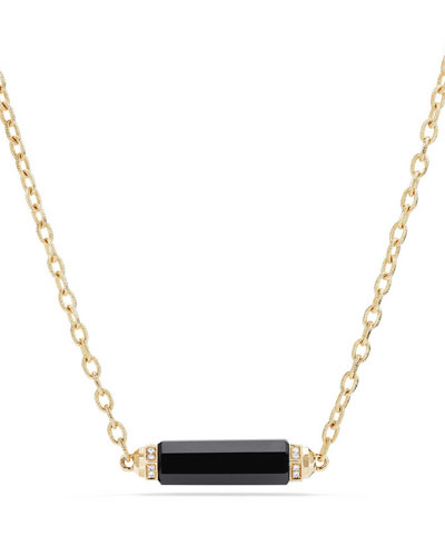 Faceted Onyx Barrel Necklace with Diamonds