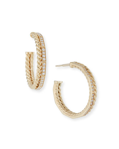 25mm Stax Pave Diamond Hoop Earrings