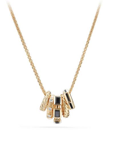 Stax Black Spinel & Diamond Pendant Necklace