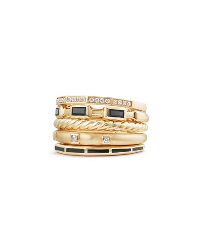 13mm Stax 18K Gold Five-Row Ring with Black Spinel & Diamonds, Size 6