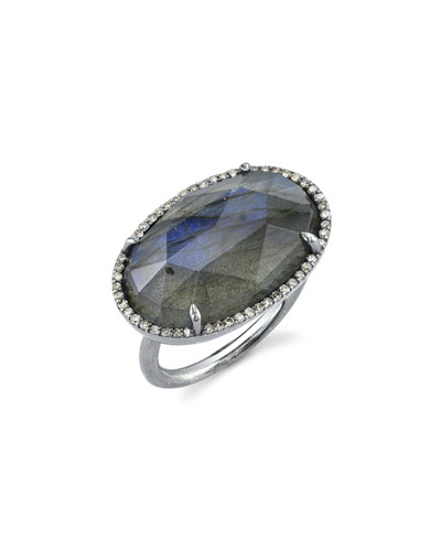East-West Labradorite Ring w/ Diamonds, Size 8.5
