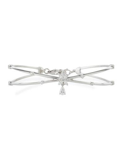 Crisscross 18K White Gold Bracelet with Diamonds