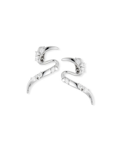 18K White Gold Climber Earrings with Diamonds