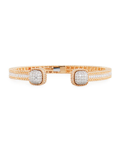 Baroccio 18K Rose Gold Bangle Bracelet with Diamonds