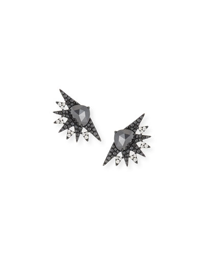 Black & White Diamond Fan Spike Earrings