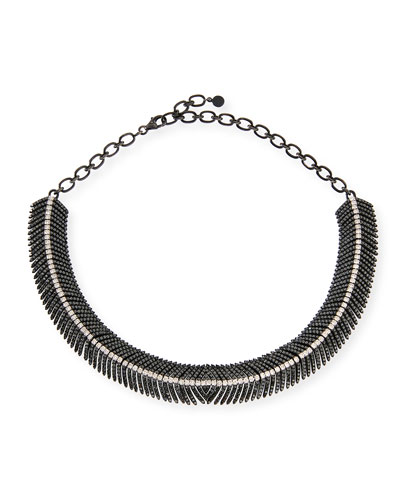 Black & White Diamond Feather Necklace