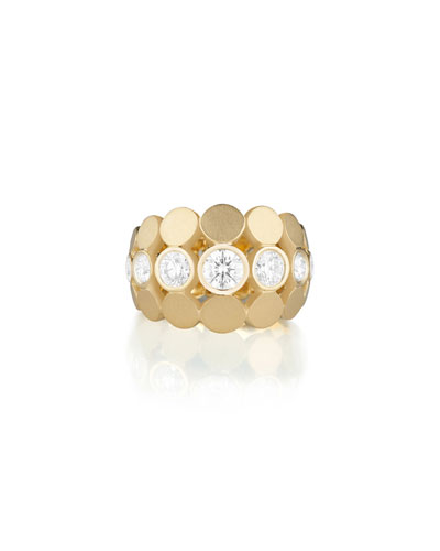 Disco Dots Diamond Bezel Ring in 18K Gold