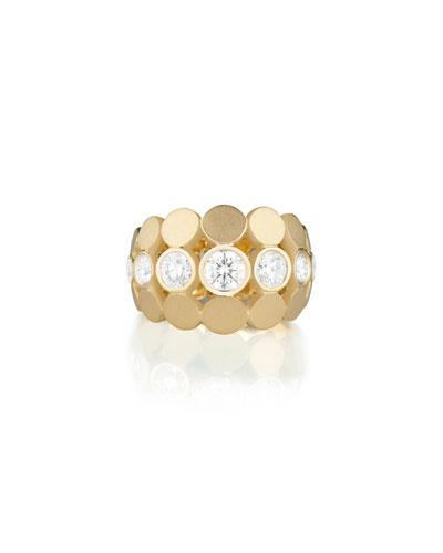 Disco Dots Diamond Bezel Ring in 18K Gold, Size 6.5