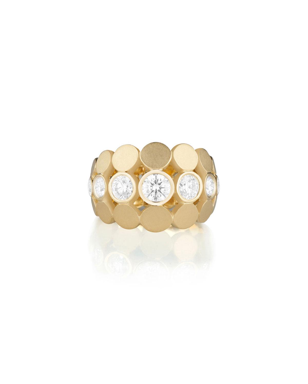 Disco Dots Diamond Bezel Ring in 18K Gold