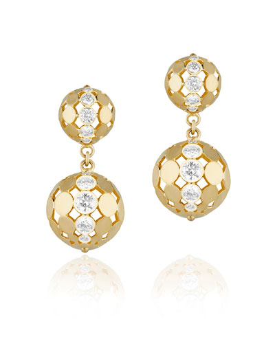 Disco Dots Double Ball Drop Earrings with Diamonds