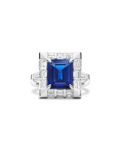 Emerald-Cut Blue Sapphire & Diamond Baguette Ring in 18K White Gold