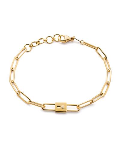 18k Yellow Gold Paperclip Chain Lock Charm Bracelet, 8