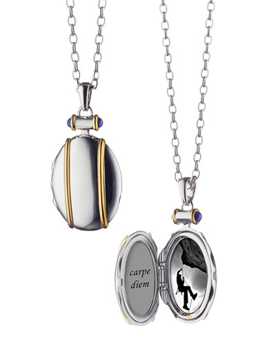 Sterling Silver and 18k Yellow Gold Locket Necklace, 32