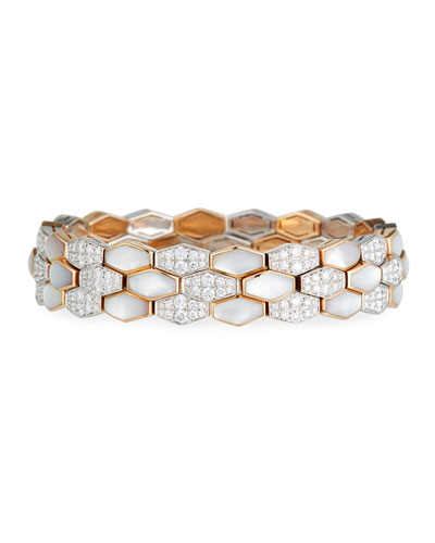 Hexagonal Mother-of-Pearl & Diamond Bracelet in 18K Rose Gold