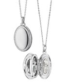 Sterling Silver Midi 4-Image Locket Necklace with White Sapphires, 32""