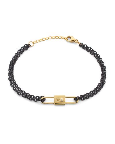 18k Yellow Gold Chain Lock Charm Bracelet