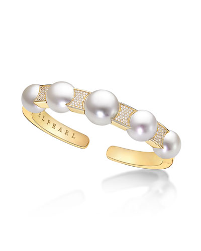 South Sea Pearl & Pavé Diamond Cuff Bracelet in 18K Gold