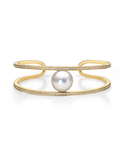 Split Diamond & Pearl 18K Cuff Bracelet