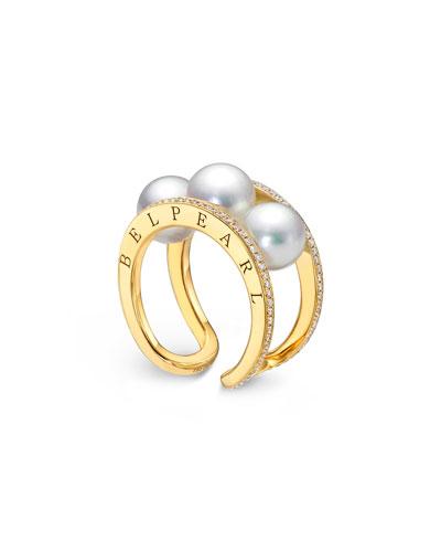 18K Split-Band Pearl & Diamond Ring
