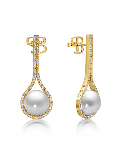 Kobe Drop Pearl & Diamond Earrings