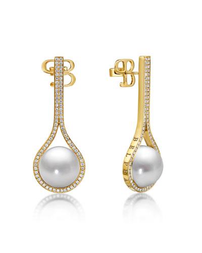 Looped Pearl & Diamond Drop Earrings