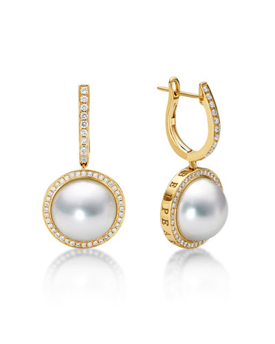 Kobe Classic Diamond & Pearl Bezel Drop Earrings