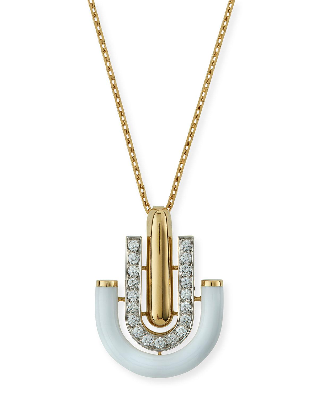 """""Motif"" White Enamel & Diamond Unity Pendant Necklace"""