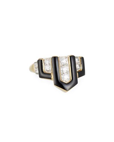 Geometric Black Enamel & Diamond Ring, Size 6.25