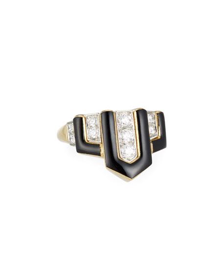 David Webb Geometric Black Enamel & Diamond Ring, Size 6.25