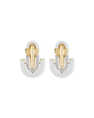 White Enamel & Diamond U-Drop Earrings