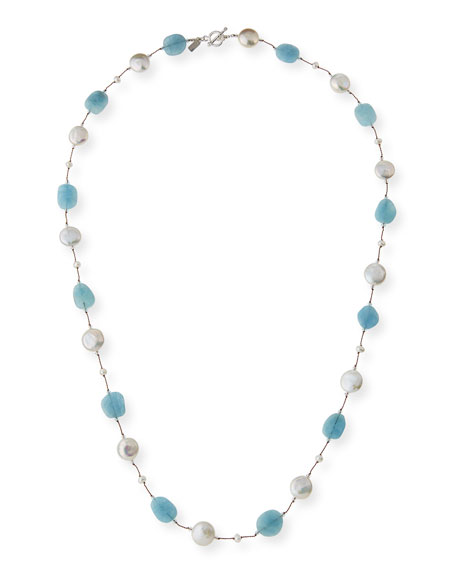Margo Morrison Long Aquamarine, Pearl & Crystal Station Necklace