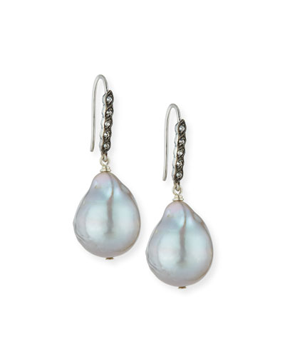 White Sapphire & Baroque Pearl Drop Earrings, Gray
