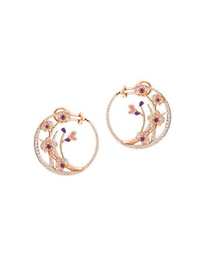Flower Moon 18k Diamond, Sapphire & Amethyst Hoop Earrings