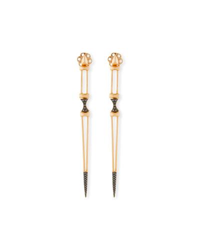 Black Diamond Dagger Earrings in 18K Gold