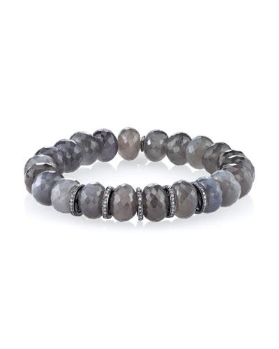 10mm Moonstone Beaded Bracelet with Diamond Rondelles