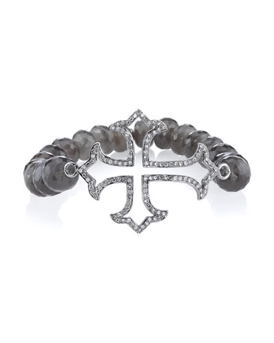 9mm Beaded Moonstone Bracelet with Diamond Gothic Cross