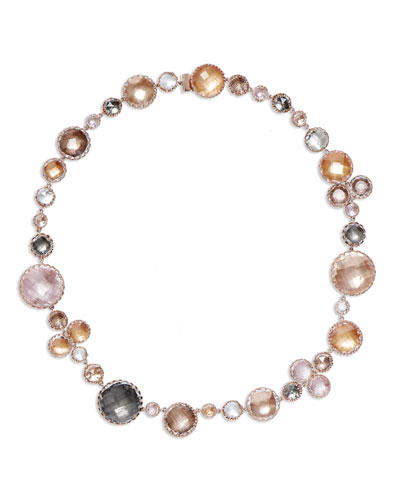 Sadie Bubble Riviere Necklace in Multi-Peach Foil