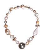 Sadie Medallion Riviere Necklace in Multi-Peach Foil