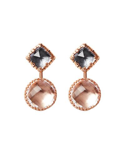 Sadie Front-Back Earrings in Gray/Copper Foil