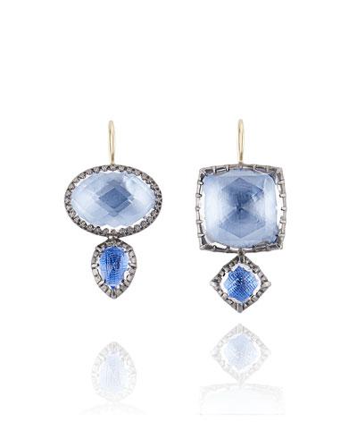 Sadie Double-Drop Earrings in Azure Foil