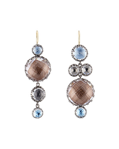 Sadie Mismatched Bubble Drop Earrings in Riverstone Foil