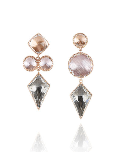 Sadie Mismatched Kite Drop Earrings in Multi-Peach Foil