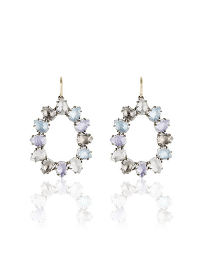 Caterina Open Frame Earrings in Multi-Hydrangea Foil