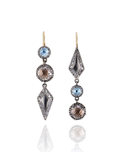 Sadie Mismatched Three-Drop Earrings in Riverstone Foil