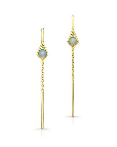 Opal Threader Chain Drop Earrings