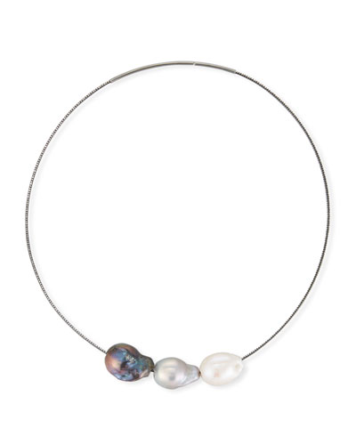 White, Gray & Peacock Baroque Pearl Collar Necklace