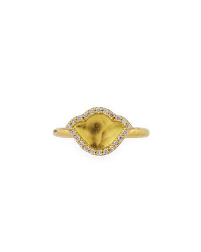 LEGEND AMRAPALI 18K GOLD LOTUS RING WITH DIAMONDS, SIZE 7