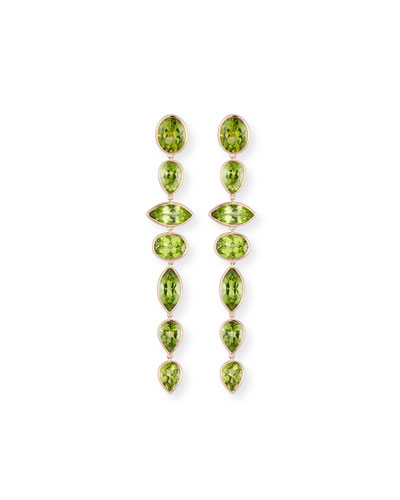 Mixed-Cut Peridot Drop Earrings in 18K Rose Gold