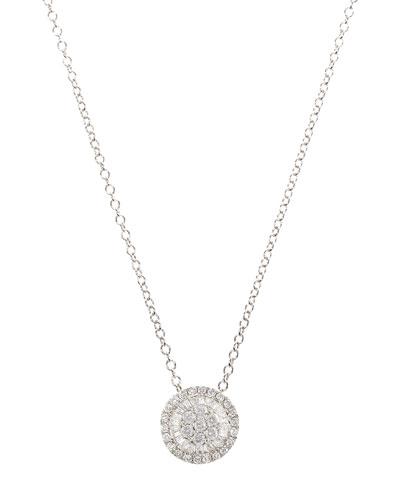 Small Diamond Pizza Necklace in 18K White Gold