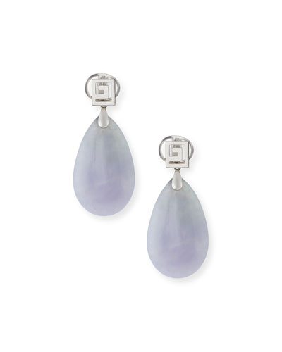 DAVID C.A. LIN LAVENDER JADE PEAR DROP EARRINGS